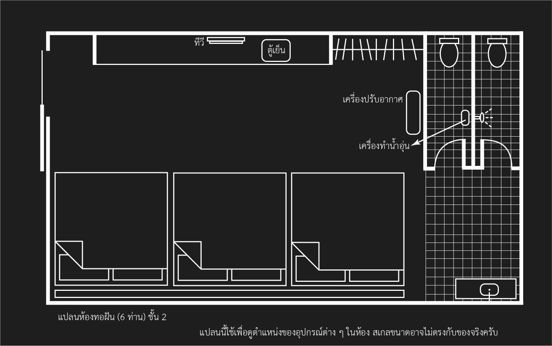 แปลนห้องพัก ห้อง 6 ท่าน ชั้น 2 ที่พักปราณบุรี