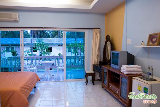 ห้องตะวันฉาย เตียงเดี่ยว ห้องกว้าง ที่พักปราณบุรี บ้านรักทะเล